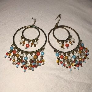 Gold-Colored Bead Earrings